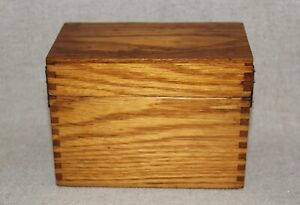 Vintage Oak Dovetailed File Box 3 X 5 Index Cards Recipe Box Library File