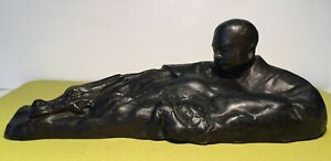 Antique Japanese Bronze Sculpture Of Man With Figure And Artist Signed 1938