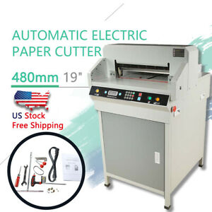 New 19 Electric Automatic Paper Cutter 480mm Cutting Machine Heavy Duty Us Ship