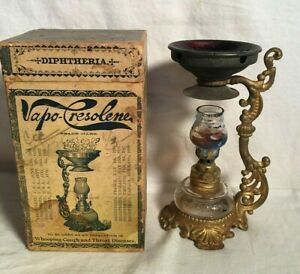 Vintage Antique 1890s Vapo Cresolene Vaporizer Miniature Oil Lamp Complete Box