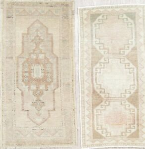 Set Of 2 Vintage Tea Washed Muted Color Oushak Turkish Hand Knotted 2x3 Wool Rug