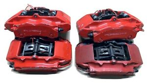 Porsche Brembo Front Rear Brake Calipers Set Of 4 Red 911 996 997