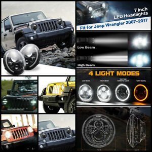 2 X 7 150w Round Led Angel Eye Headlight Beam Bulb For Jeep Wrangler Jk Tj Lj