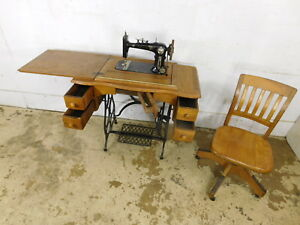 Rare Antique C1890 German Blatt Special Treadle Sewing Machine Iron Oak Cabinet