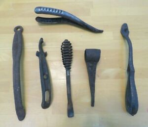 Lot 6 Tools Wrought Iron Wood Stove Lifter Handle Cast Leather Strap Dl3
