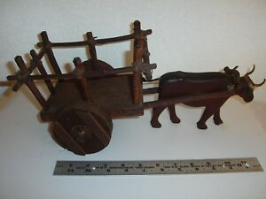 Vintage Folk Art Wooden Carved Ox Cart Ox
