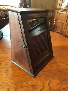 Antique Wood Glass Small Desk Top Counter Top Display Cabinet Rare