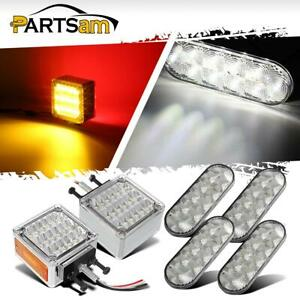 4x6 Oval Clear white 10led Stop Turn Tail Light 2x Double Face Red amber Fender