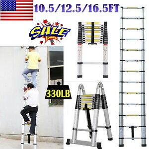 En131 10 5 12 5 16 5 Ft Telescopic Ladder Aluminium Garden Tool Multi purpose