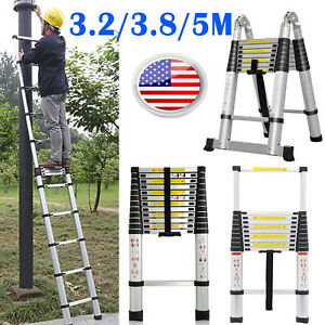 10 5 12 5 16 5ft Aluminum Telescopic Ladder Extension Foldable Multi purpose