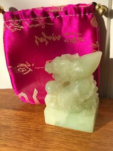 Chinese Hand Carved Pale Green Jade Dragon Statue And Ornate Bag