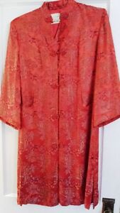 Vintage Chinese Peony Shanghai Embroidered Silk Jacket Robe Red Purple Gold