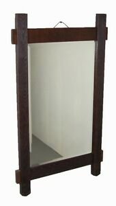 Vintage Rustic Arts Crafts Salvaged Oak Wall Mirror Beveled Glass