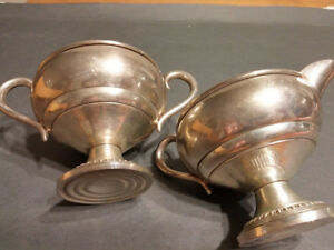 Antique Sterling Silver Empire Weighted Cream Pitcher And Sugar Bowl