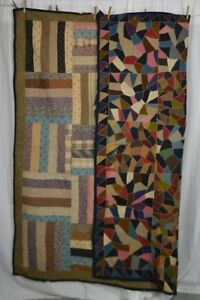 Antique Quilt Patchwork Reversible Early Cotton Rail Fence Crazy 70x70 In 1850