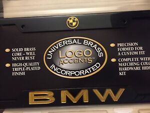 Rare Universal Brass Incorporated Black Chrome Gold Bmw License Plate Frame