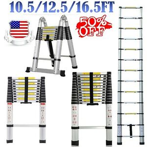 10 5 12 5 16 5 Ft En131 Aluminium Foldable Multi purpose Steps Telescopic Ladder