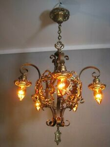 Chandelier Antique Tudor 5 Light Gold Bronze Finishes Restored Poly Chrome