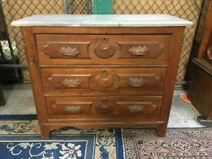 Victorian Eastlake Style Dresser Marble Top 19th Century American Antique