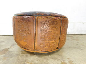 Vintage Mayan Art Inspired Aztec Spanish Mexico Leather Poof Footstool Ottoman