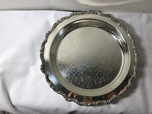 Poole Silver Co Old English Silver Plate 12 Circular Footed Tray 5017