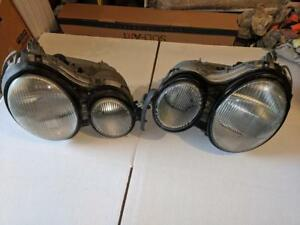 Mercedes W210 E320 1998 Hella Front Headlights Good Clear Lenses Pre Facelift
