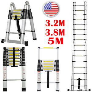 10 5 12 5 16 5ft Aluminium Multi purpose En131 Telescopic Ladder 3 2m 3 8m 5m Us