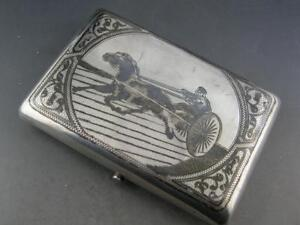 Russian 84 Silver Cigarette Case Niello W Horse Cart Scene Decorative