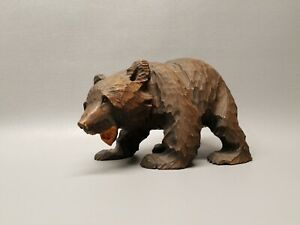 Vintage Large Wooden Wood Hand Carved Brown Bear Cub Figure 7