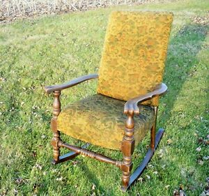 Grandfather S Antique Rocking Chair King Size Carpetbag Like Material Wood Nice