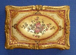 Florentine Italy Toleware Gilded Gilt Painted Footed Wood Trinket Box Floral