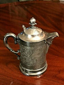Antique James W Tufts 4x Silver Plate Small Lidded Pitcher And Saucer