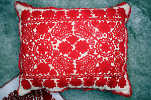 Giant Antique Traditional Hungarian Hand Embroidered R Sos Linen Pillow Case