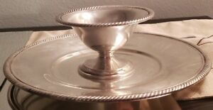 Castleton Silver Plate Platter Tray 673 And Dish Stand Pedestal 805 Lot Of 2