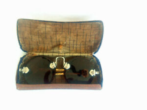 Antique Chinese Rimless Pince Nez Eye Glasses Lorgnette Spectacles With Case