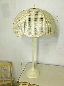 Vtg That 70s Lamp Wicker Tulip Reticulated Shade Ball Light Mid Century Modern