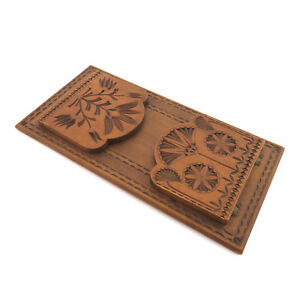Antique 19th C Dutch Frisian Chip Carved Folding Book Stand Rack Dated 1896