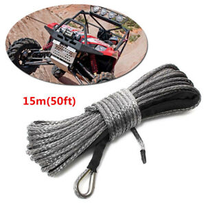 5000 5700lbs 50ft 8mm Nylon Synthetic Fiber Winch Line Cable Rope Car Atv Utv