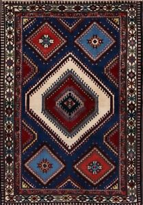 Geometric South West Design Tribal Yalameh Persian Hand Knotted Area Rug 4x5ft