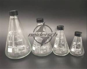 Glass Conical Erlenmeyer Narrow Mouth Screw Cap Flask Lab Glassware 150 3000ml