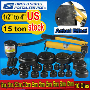 15ton 16 101mm Hydraulic Knockout Punch Kit Hand Pump 10 Dies Tool Hydra