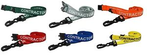 Pre Printed Contractor Lanyard J Clip Safety Breakaway