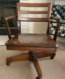 Vintage Dark Wood Swivel Desk Office Chair W Coasters Banker Lawyer Courthouse