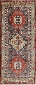 Vintage Geometric Tribal Ardebil Persian Hand Knotted 5x11 Wide Runner Rug Wool