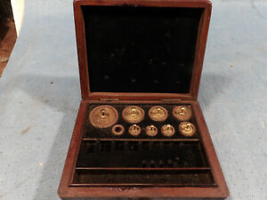 Brass Apothecary Scale Weights 50 Grams To 1 Gram Wood Box
