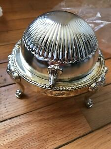 Silverplate Roll Top Lion Footed Caviar Butter Dish