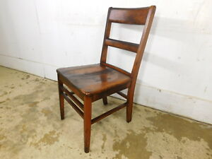 Antique Vintage 1940s All Wood School Industrial Desk Chair Mahogany Finish