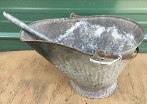 Galvanized Coal Scuttle W Shovel Bucket Wood Ash Fireplace Pail Metal Vintage