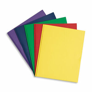 100 Two Pocket Folders With Prongs Assorted 5 Colors 2 Pocket 3 Prong Folders