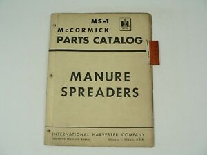 Service Parts Catalog International Harvester Ms 1 Manure Spreaders 1959 Vtg